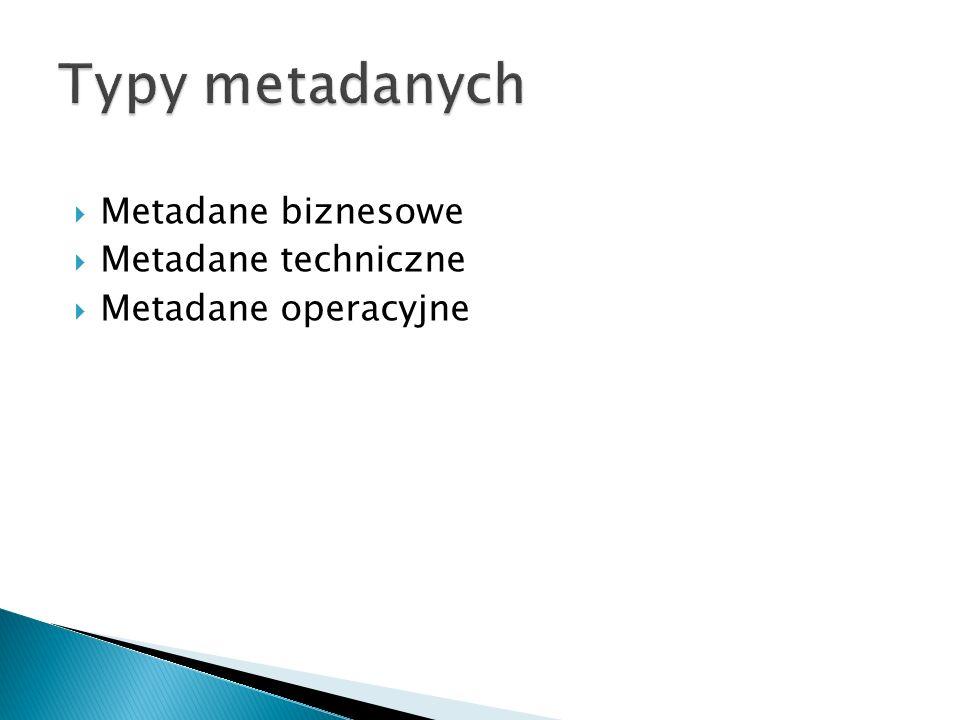Metadane biznesowe Metadane techniczne Metadane operacyjne