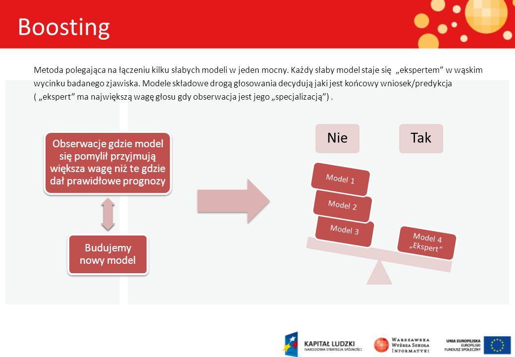 Boosting Metoda polegająca na łączeniu kilku słabych modeli w jeden mocny. Każdy słaby model staje się ekspertem w wąskim wycinku badanego zjawiska. M