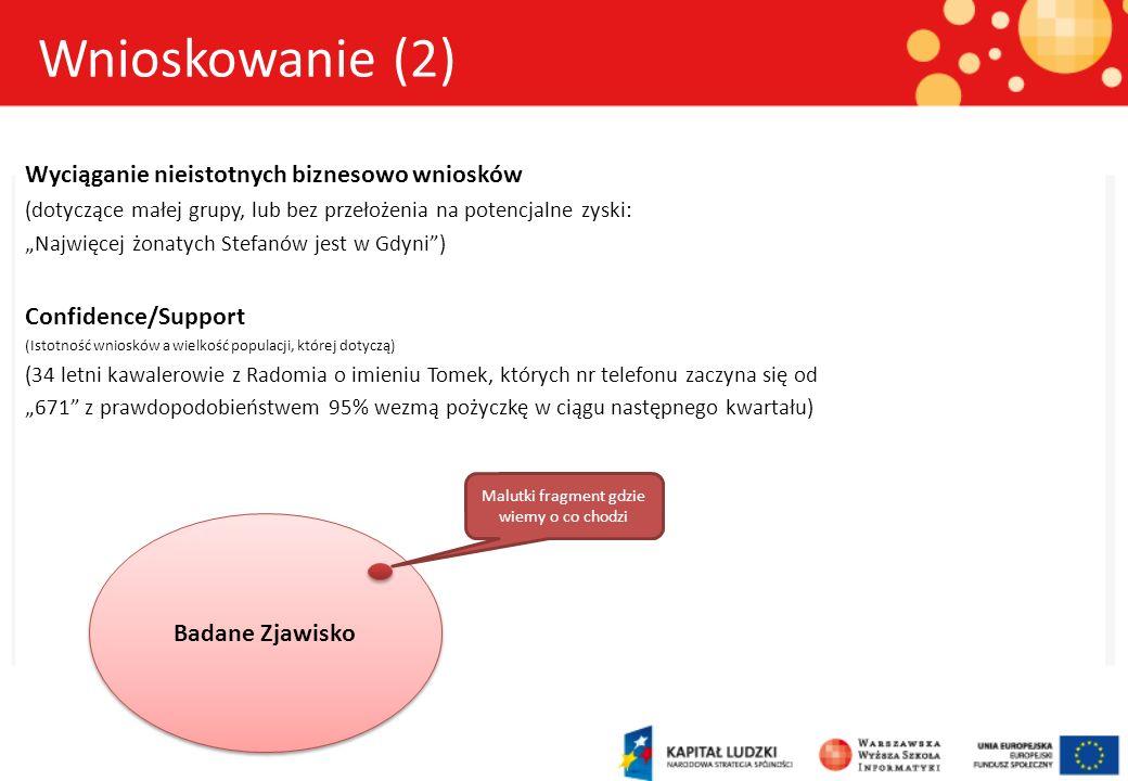 Wyciąganie nieistotnych biznesowo wniosków (dotyczące małej grupy, lub bez przełożenia na potencjalne zyski: Najwięcej żonatych Stefanów jest w Gdyni)