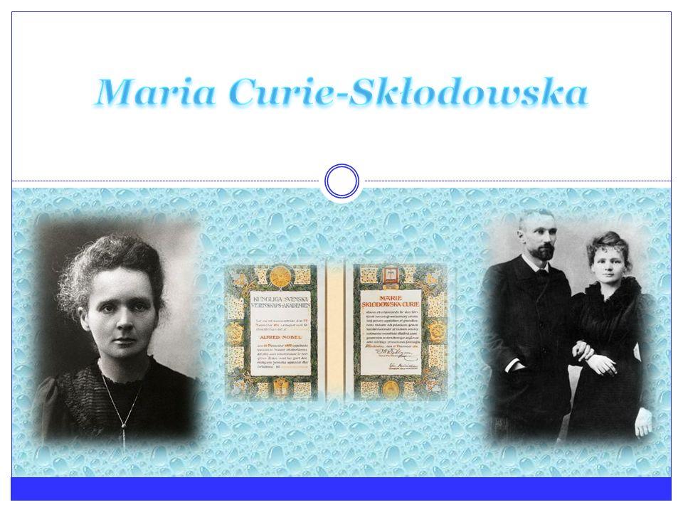 Życiorys- dziećiństwo Maria Skłodowska Curie urodziła się 7 listopada 1867 w Warszawie Gdy Maria miała 10 lat rozpoczęła naukę na pensji dla dziewcząt, którą wcześniej prowadziła jej matka.