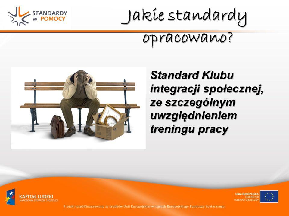 Jakie standardy opracowano? Standard Klubu integracji społecznej, ze szczególnym uwzględnieniem treningu pracy