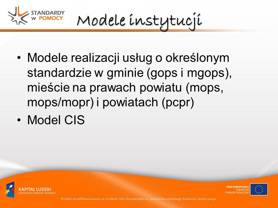 Modele instytucji Modele realizacji usług o określonym standardzie w gminie (gops i mgops), mieście na prawach powiatu (mops, mops/mopr) i powiatach (