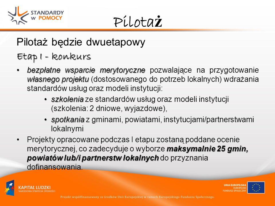 Pilota ż Pilotaż będzie dwuetapowy Etap I - konkurs bezpłatne wsparcie merytoryczne własnego projektubezpłatne wsparcie merytoryczne pozwalające na pr