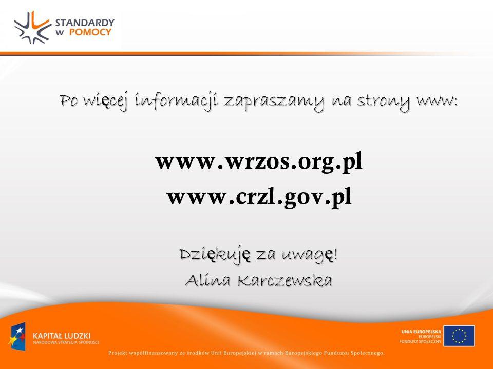 Po wi ę cej informacji zapraszamy na strony www: www.wrzos.org.pl www.crzl.gov.pl Dzi ę kuj ę za uwag ę ! Alina Karczewska