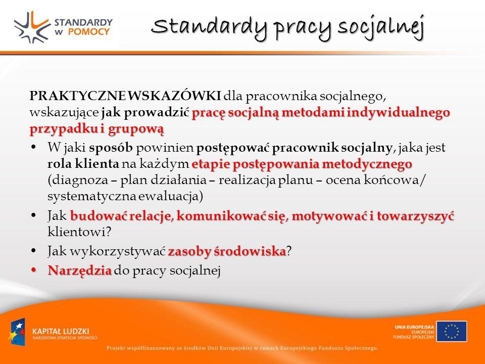 Standardy pracy socjalnej pracę socjalną metodami indywidualnego przypadku i grupową PRAKTYCZNE WSKAZÓWKI dla pracownika socjalnego, wskazujące jak pr