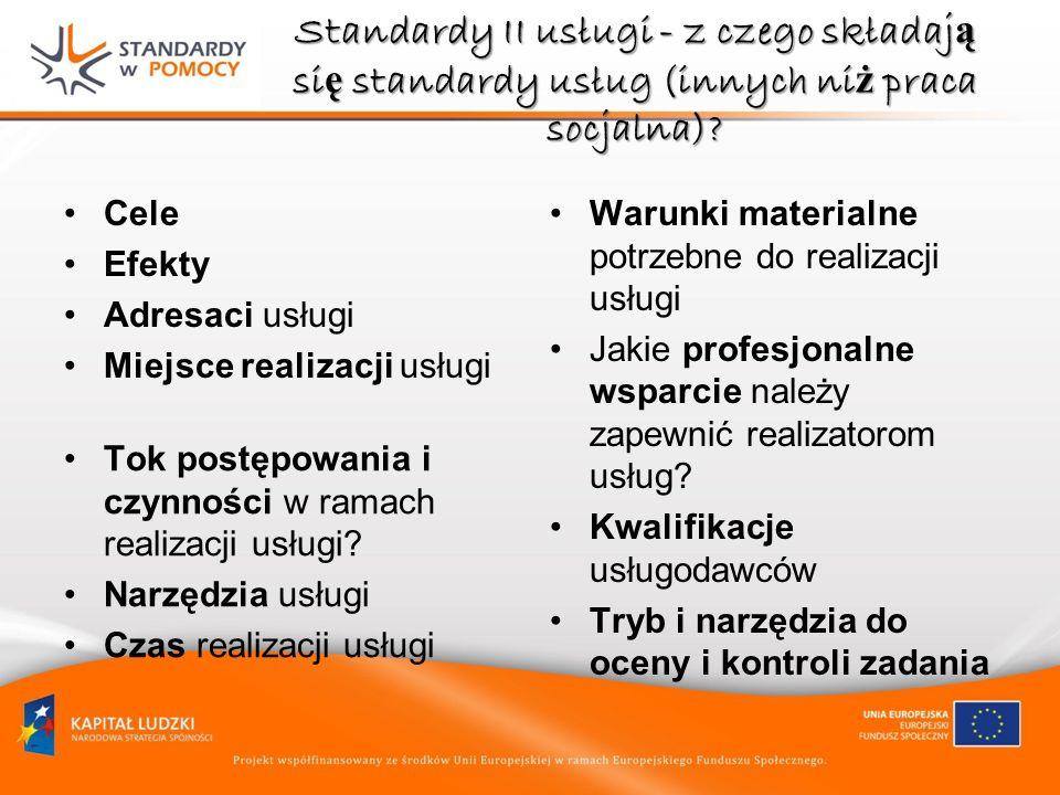 Standardy II usługi - z czego składaj ą si ę standardy usług (innych ni ż praca socjalna)? Cele Efekty Adresaci usługi Miejsce realizacji usługi Tok p