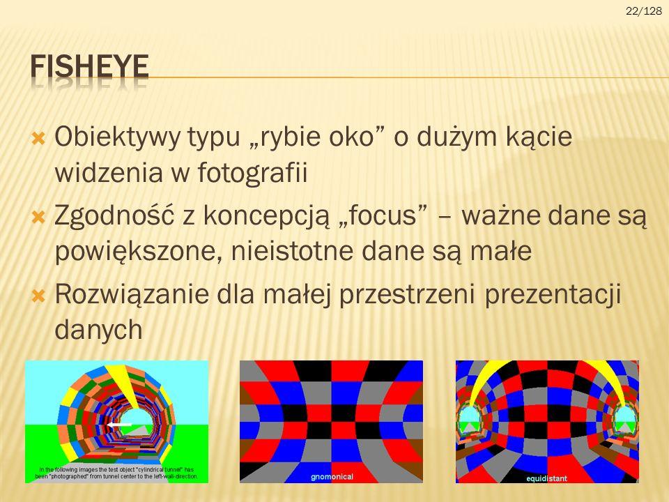 Obiektywy typu rybie oko o dużym kącie widzenia w fotografii Zgodność z koncepcją focus – ważne dane są powiększone, nieistotne dane są małe Rozwiązan