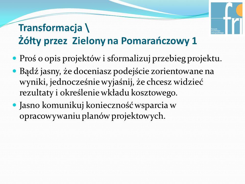 Transformacja \ Żółty przez Zielony na Pomarańczowy 1 Proś o opis projektów i sformalizuj przebieg projektu.