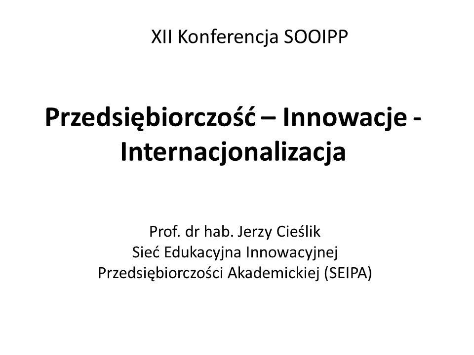 Przedsiębiorczość – Innowacje - Internacjonalizacja Prof. dr hab. Jerzy Cieślik Sieć Edukacyjna Innowacyjnej Przedsiębiorczości Akademickiej (SEIPA) X