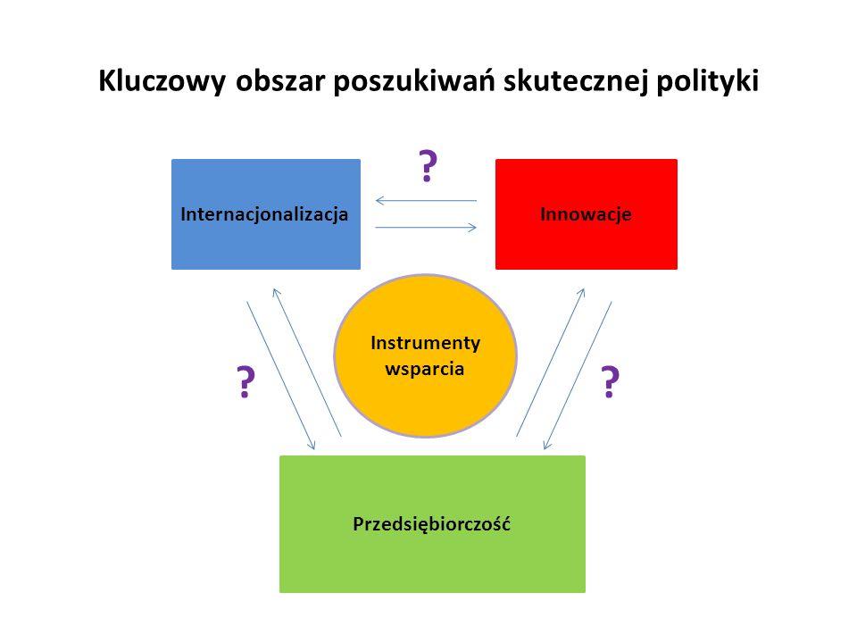 Kluczowy obszar poszukiwań skutecznej polityki Internacjonalizacja Przedsiębiorczość Instrumenty wsparcia Innowacje ? ? ?