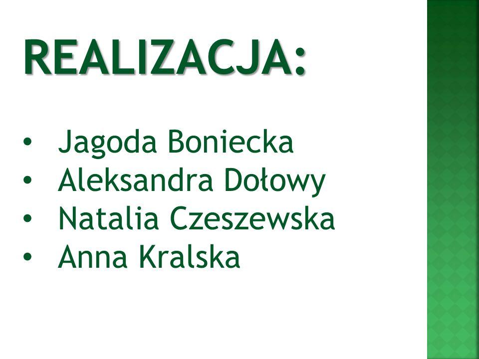 Jagoda Boniecka Aleksandra Dołowy Natalia Czeszewska Anna Kralska REALIZACJA: