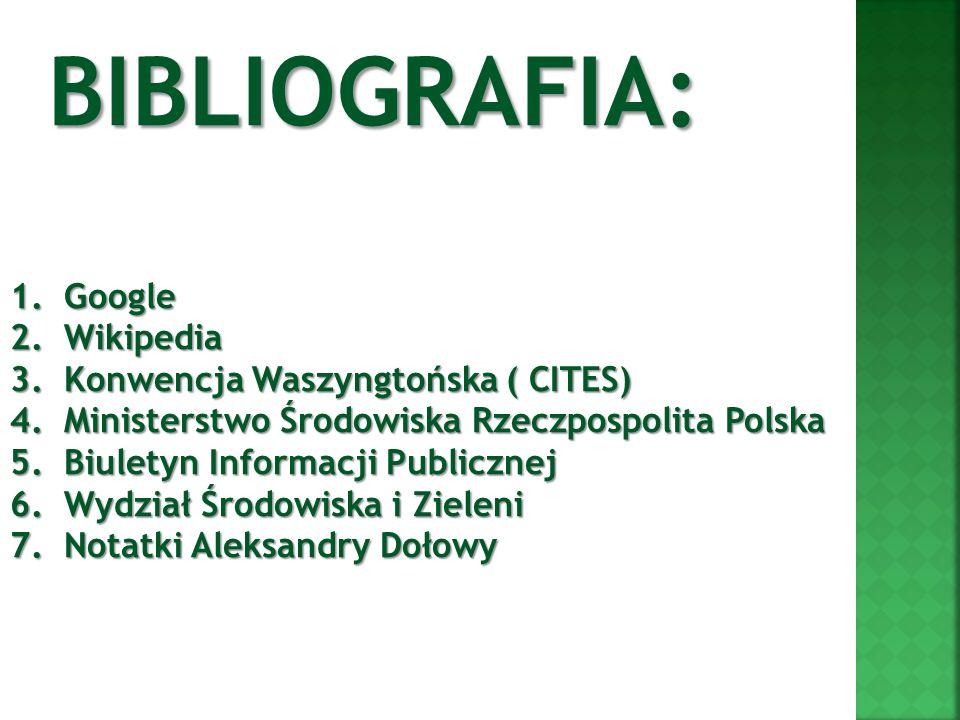 1.Google 2.Wikipedia 3.Konwencja Waszyngtońska ( CITES) 4.Ministerstwo Środowiska Rzeczpospolita Polska 5. Biuletyn Informacji Publicznej 6. Wydział Ś