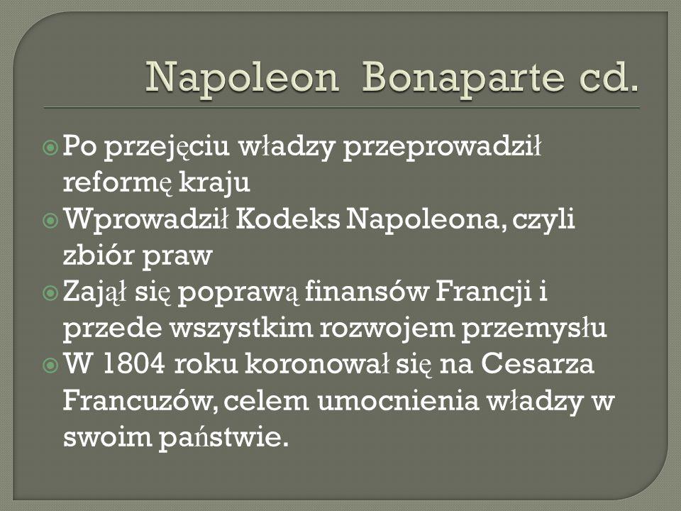 Po przej ę ciu w ł adzy przeprowadzi ł reform ę kraju Wprowadzi ł Kodeks Napoleona, czyli zbiór praw Zaj ął si ę popraw ą finansów Francji i przede ws