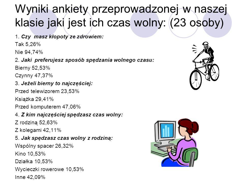 Wyniki ankiety przeprowadzonej w naszej klasie jaki jest ich czas wolny: (23 osoby) 1. Czy masz kłopoty ze zdrowiem: Tak 5,26% Nie 94,74% 2. Jaki pref