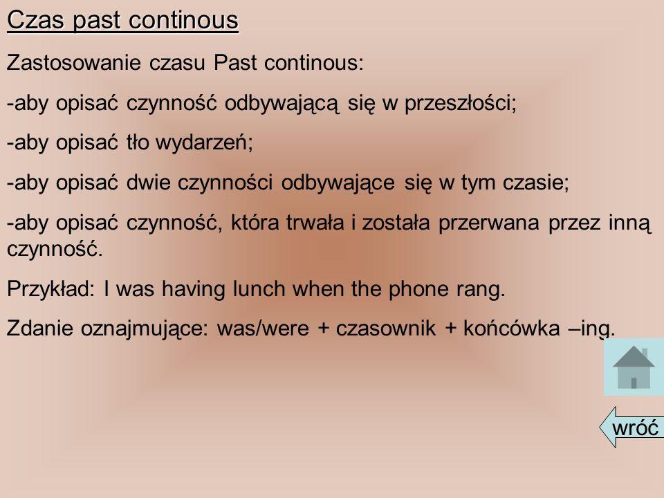 Czas past continous Zastosowanie czasu Past continous: -aby opisać czynność odbywającą się w przeszłości; -aby opisać tło wydarzeń; -aby opisać dwie c