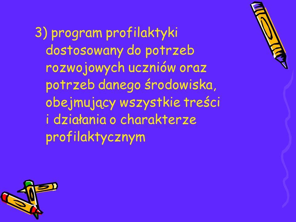 3) program profilaktyki dostosowany do potrzeb rozwojowych uczniów oraz potrzeb danego środowiska, obejmujący wszystkie treści i działania o charakter