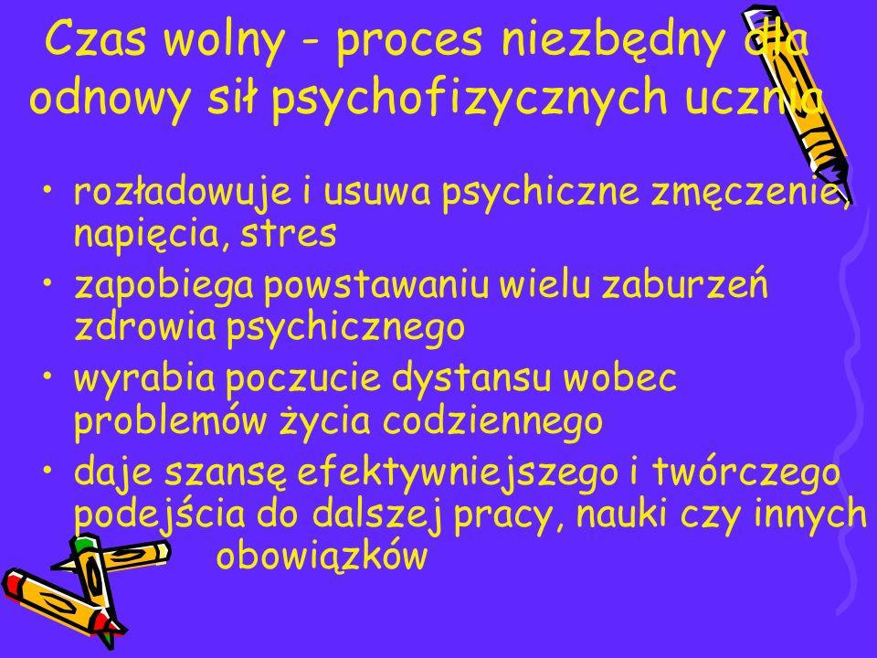 Czas wolny - proces niezbędny dla odnowy sił psychofizycznych ucznia rozładowuje i usuwa psychiczne zmęczenie, napięcia, stres zapobiega powstawaniu w