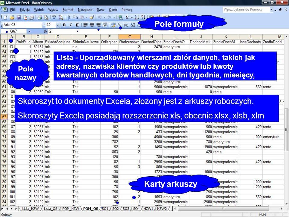 Skoroszyt to dokumenty Excela, złożony jest z arkuszy roboczych.