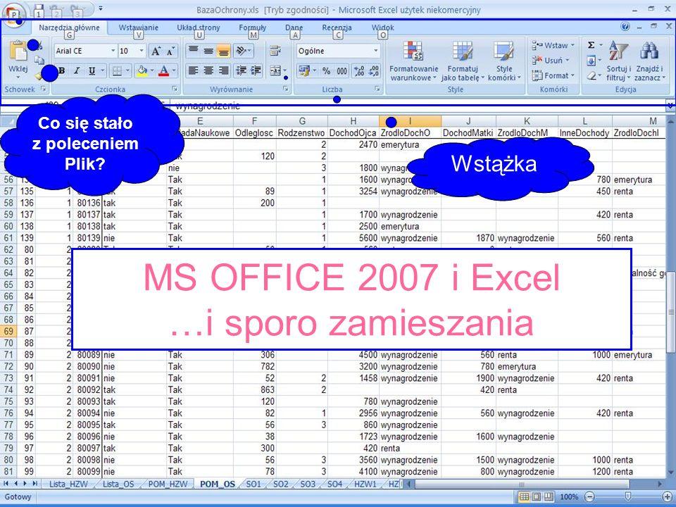 MS OFFICE 2007 i Excel …i sporo zamieszania Co się stało z poleceniem Plik? Wstążka
