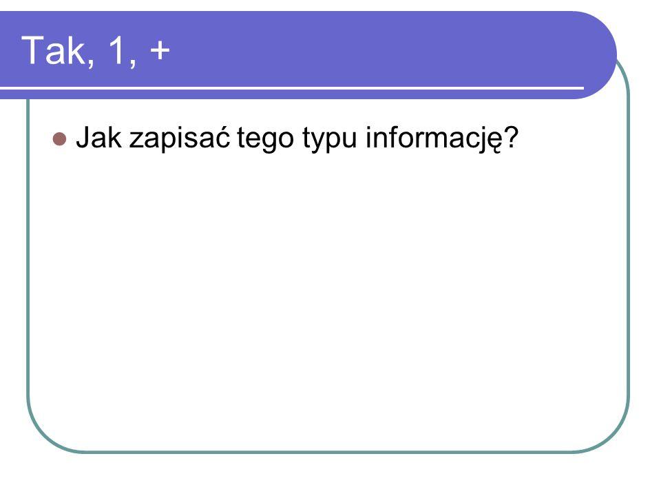 Tak, 1, + Jak zapisać tego typu informację?