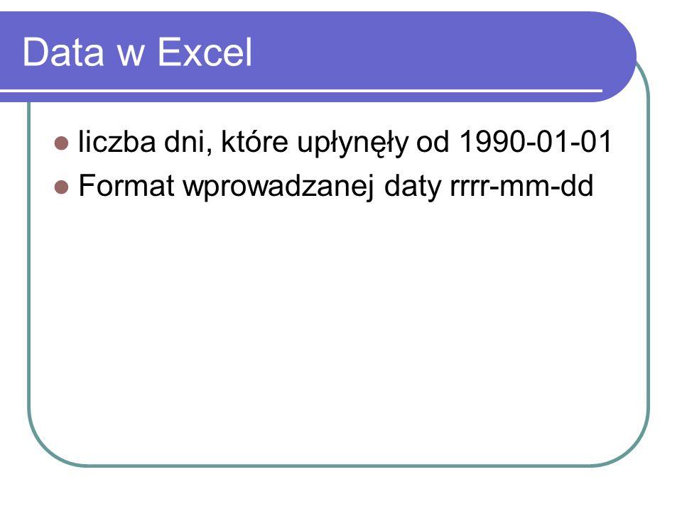 Data w Excel liczba dni, które upłynęły od 1990-01-01 Format wprowadzanej daty rrrr-mm-dd