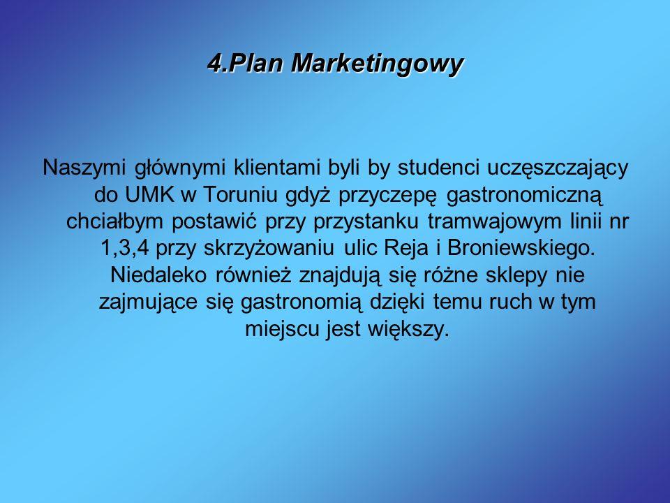 4.Plan Marketingowy Naszymi głównymi klientami byli by studenci uczęszczający do UMK w Toruniu gdyż przyczepę gastronomiczną chciałbym postawić przy p
