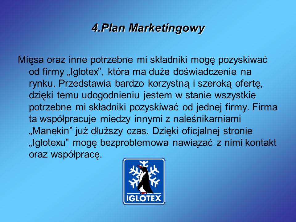 4.Plan Marketingowy Mięsa oraz inne potrzebne mi składniki mogę pozyskiwać od firmy Iglotex, która ma duże doświadczenie na rynku. Przedstawia bardzo