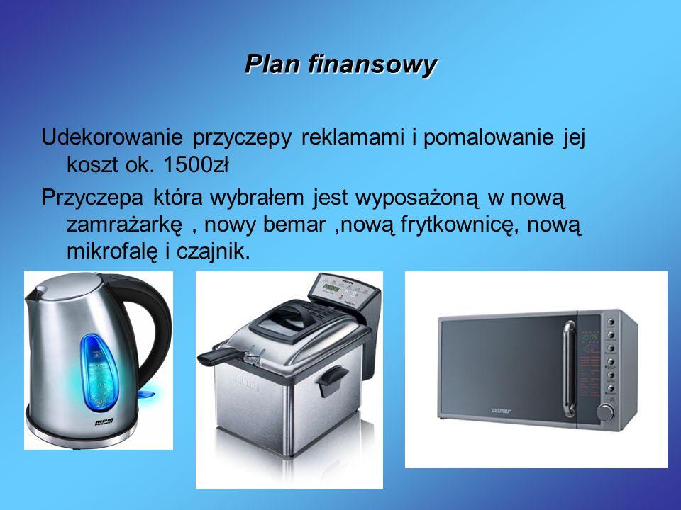 Plan finansowy Udekorowanie przyczepy reklamami i pomalowanie jej koszt ok. 1500zł Przyczepa która wybrałem jest wyposażoną w nową zamrażarkę, nowy be