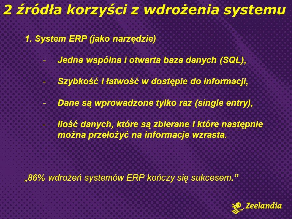 1. System ERP (jako narzędzie) -Jedna wspólna i otwarta baza danych (SQL), -Szybkość i łatwość w dostępie do informacji, -Dane są wprowadzone tylko ra