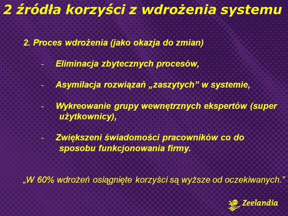 2. Proces wdrożenia (jako okazja do zmian) -Eliminacja zbytecznych procesów, -Asymilacja rozwiązań zaszytych w systemie, -Wykreowanie grupy wewnętrzny