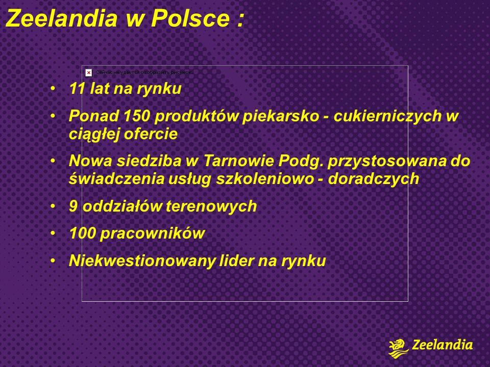 Zeelandia w Polsce : 11 lat na rynku Ponad 150 produktów piekarsko - cukierniczych w ciągłej ofercie Nowa siedziba w Tarnowie Podg. przystosowana do ś