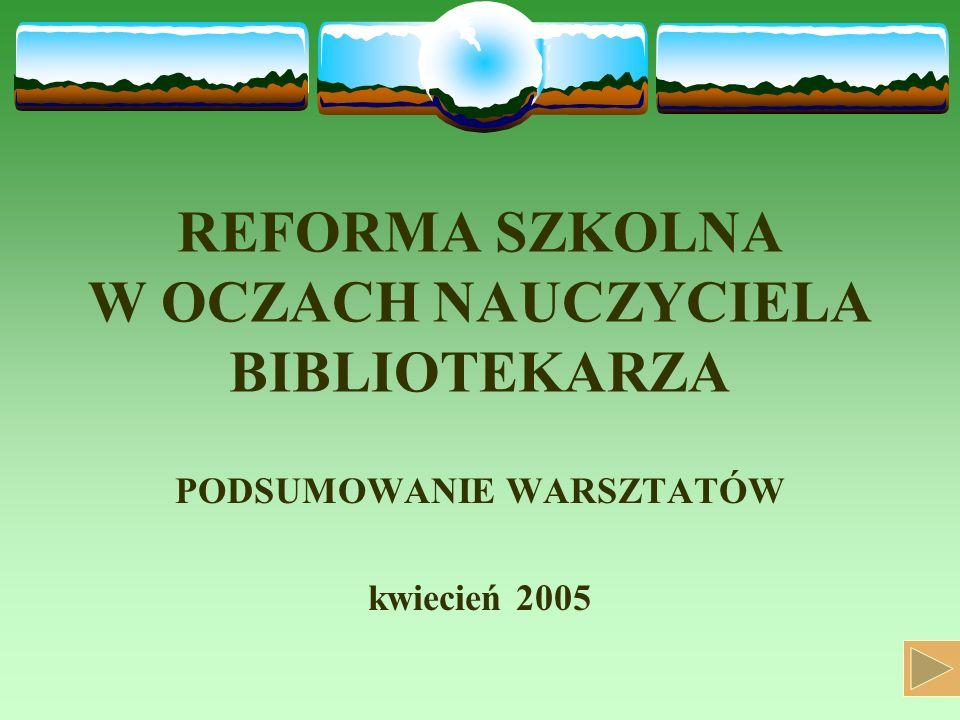 REFORMA SZKOLNA W OCZACH NAUCZYCIELA BIBLIOTEKARZA PODSUMOWANIE WARSZTATÓW kwiecień 2005