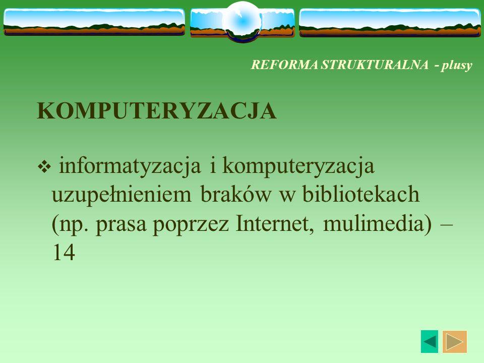REFORMA STRUKTURALNA - plusy KOMPUTERYZACJA informatyzacja i komputeryzacja uzupełnieniem braków w bibliotekach (np. prasa poprzez Internet, mulimedia