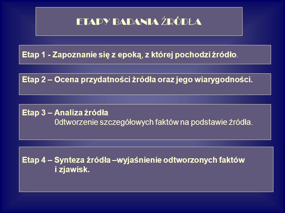 ETAPY BADANIA Ź RÓD Ł A Etap 1 - Zapoznanie się z epoką, z której pochodzi źródło.