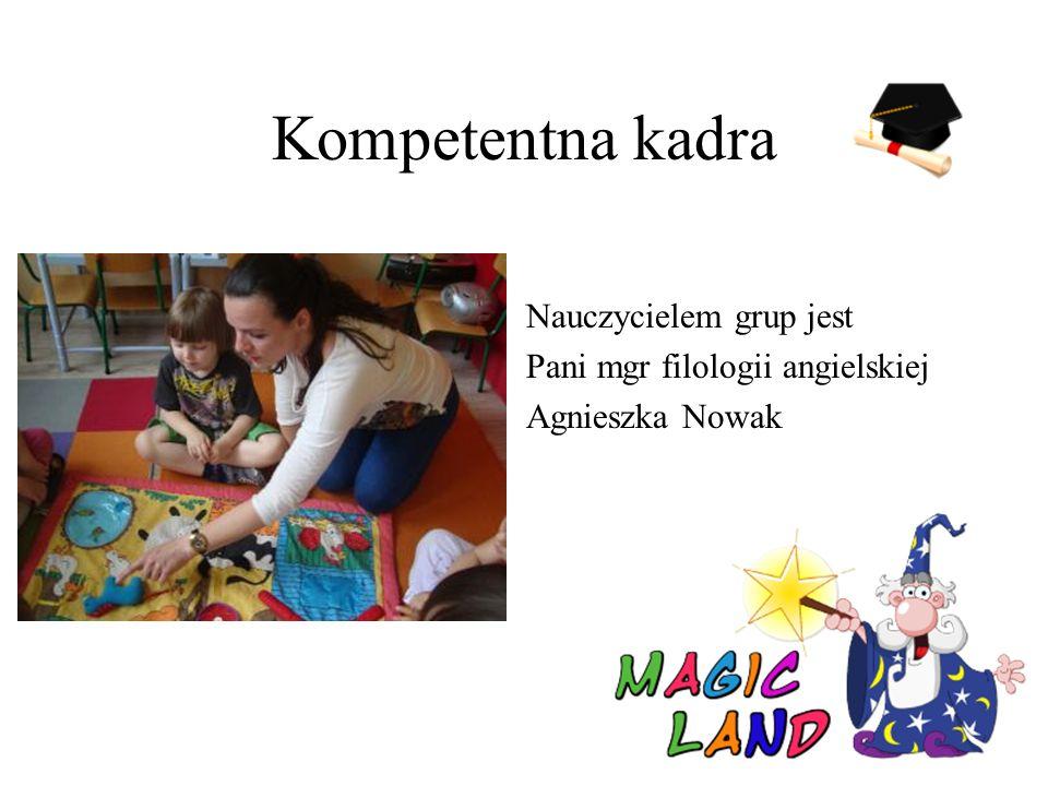 Kompetentna kadra Nauczycielem grup jest Pani mgr filologii angielskiej Agnieszka Nowak