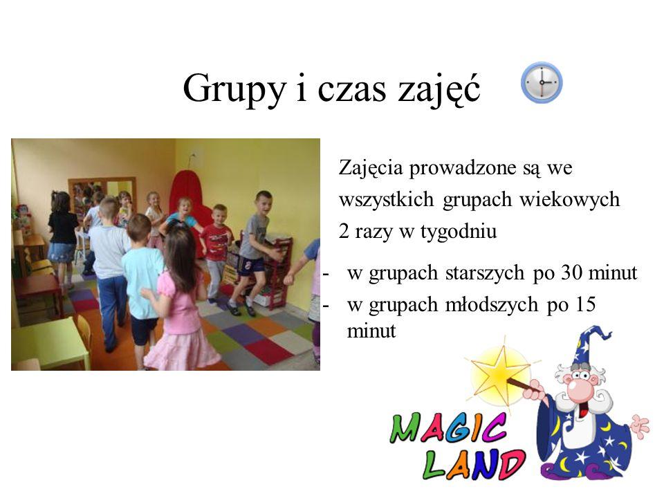 Grupy i czas zajęć Zajęcia prowadzone są we wszystkich grupach wiekowych 2 razy w tygodniu -w grupach starszych po 30 minut -w grupach młodszych po 15 minut