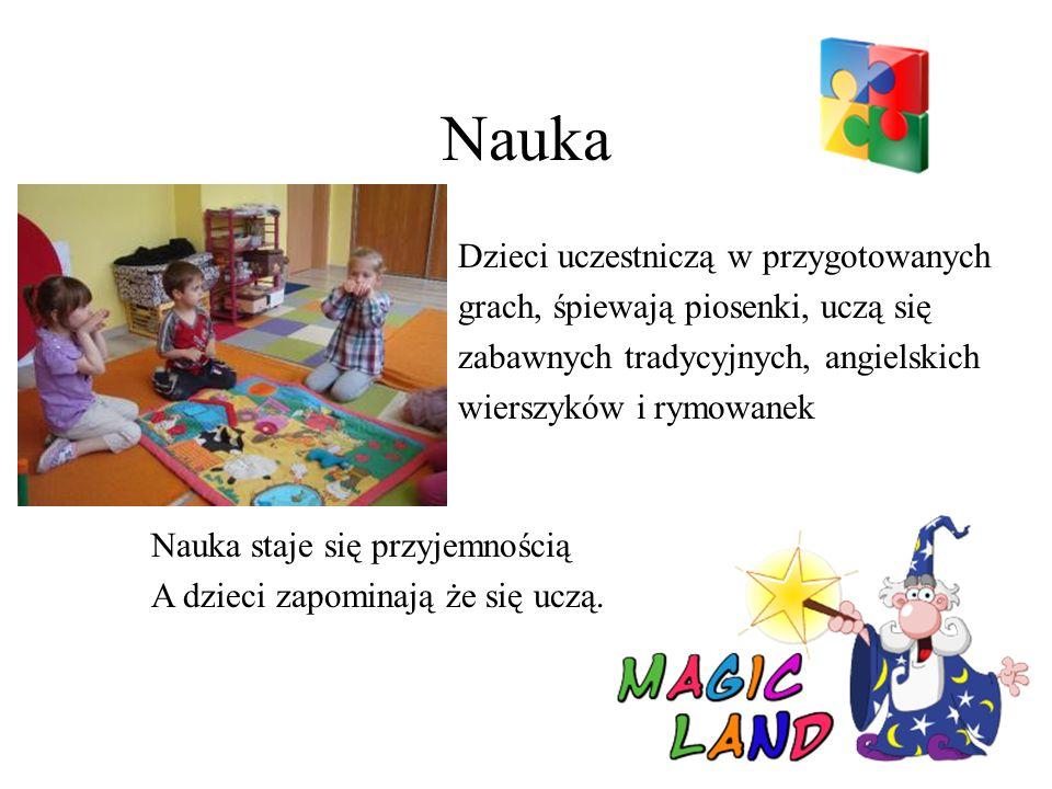 Nauka Dzieci uczestniczą w przygotowanych grach, śpiewają piosenki, uczą się zabawnych tradycyjnych, angielskich wierszyków i rymowanek Nauka staje się przyjemnością A dzieci zapominają że się uczą.