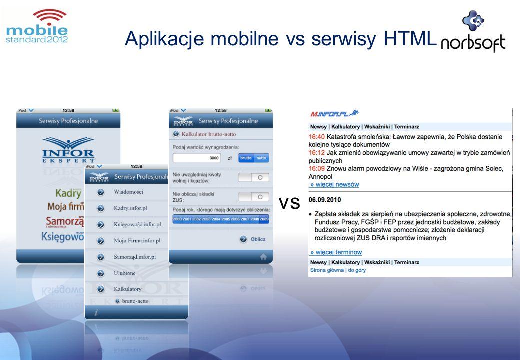 vs Aplikacje mobilne vs serwisy HTML