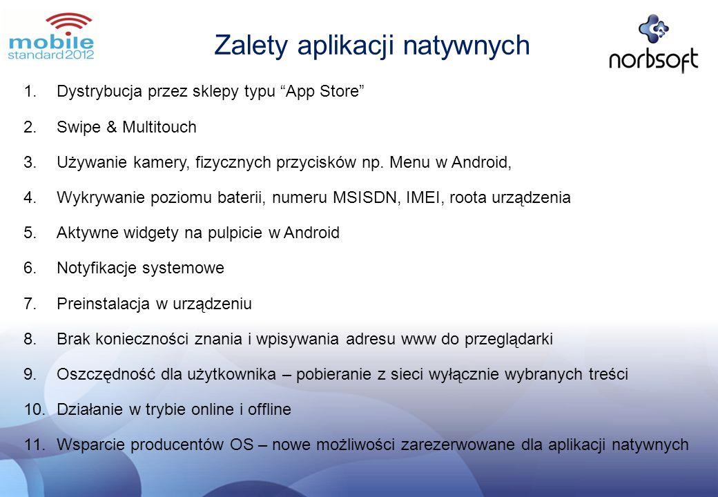 Zalety aplikacji natywnych 1.Dystrybucja przez sklepy typu App Store 2.Swipe & Multitouch 3.Używanie kamery, fizycznych przycisków np. Menu w Android,