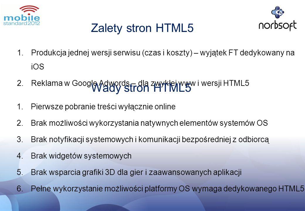 Zalety stron HTML5 1.Produkcja jednej wersji serwisu (czas i koszty) – wyjątek FT dedykowany na iOS 2.Reklama w Google Adwords – dla zwykłej www i wer
