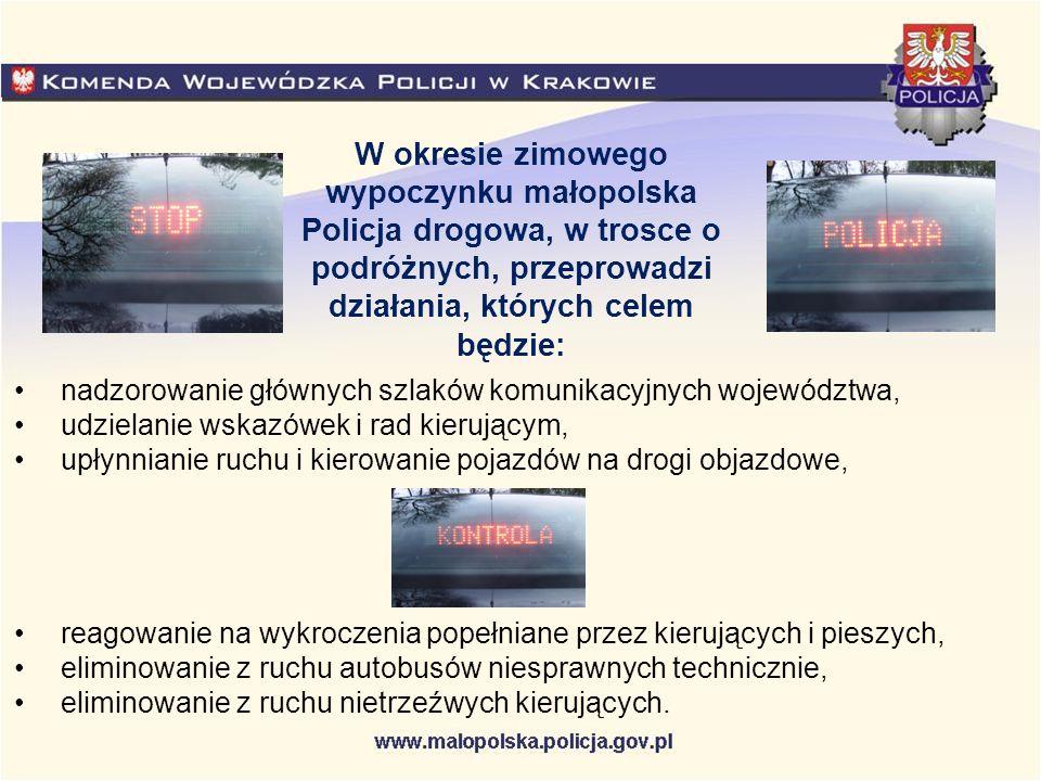 Informacje o utrudnieniach na drogach można uzyskać na stronach internetowych: Generalna Dyrekcja Dróg Krajowych i Autostrad w Krakowie – www.krakow.gddkia.gov.pl Autostrada A4 - www.autostrada-a4.pl Zarząd Dróg Wojewódzkich w Krakowie – www.e-drogi.pl/zdwkr