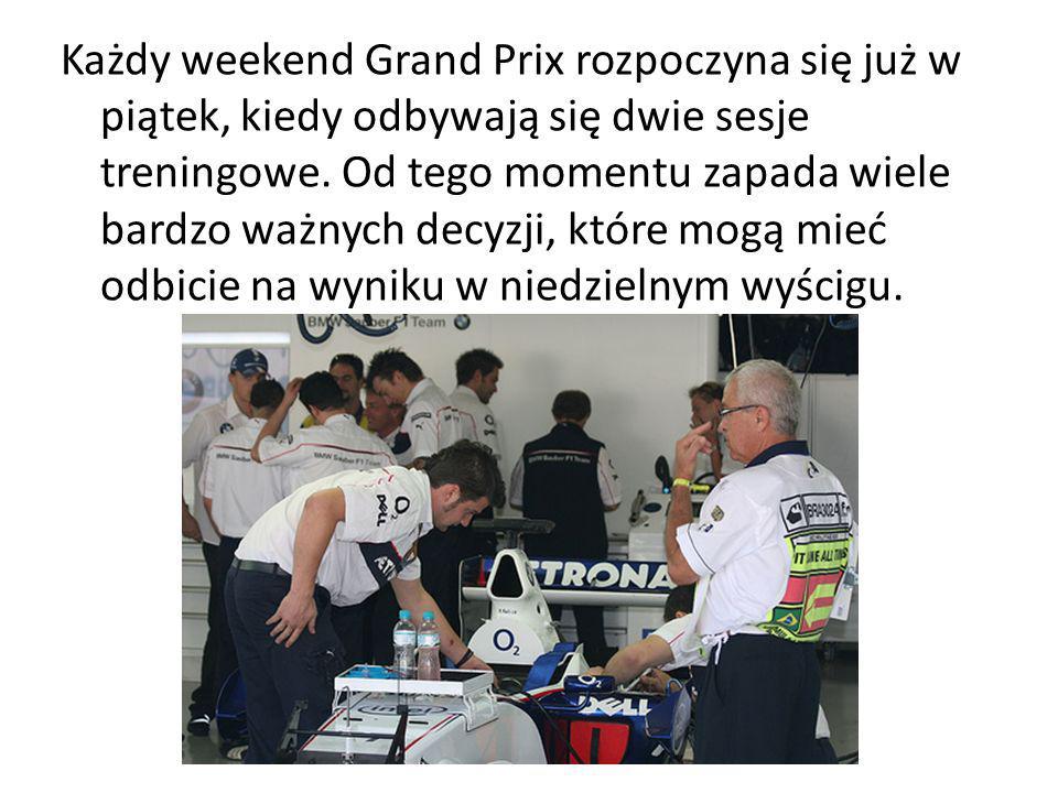 Każdy weekend Grand Prix rozpoczyna się już w piątek, kiedy odbywają się dwie sesje treningowe. Od tego momentu zapada wiele bardzo ważnych decyzji, k