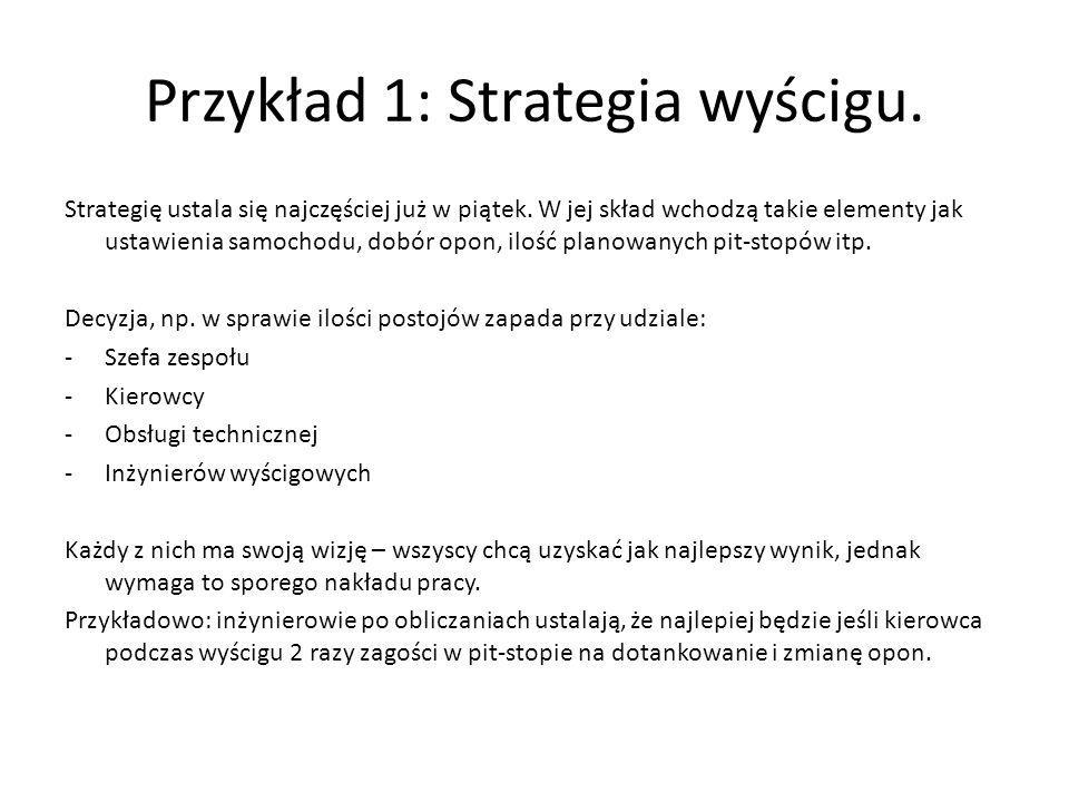 Przykład 1: Strategia wyścigu. Strategię ustala się najczęściej już w piątek. W jej skład wchodzą takie elementy jak ustawienia samochodu, dobór opon,