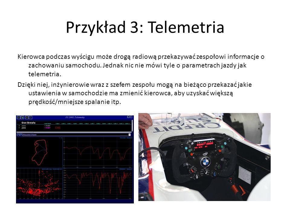 Przykład 3: Telemetria Kierowca podczas wyścigu może drogą radiową przekazywać zespołowi informacje o zachowaniu samochodu. Jednak nic nie mówi tyle o