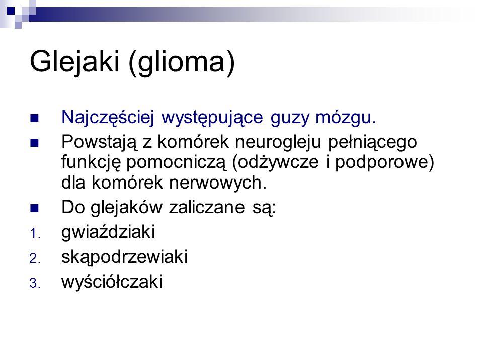 Glejaki (glioma) Najczęściej występujące guzy mózgu.