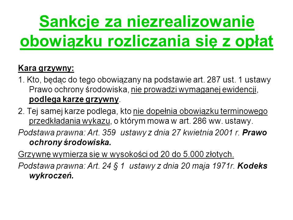 Sankcje za niezrealizowanie obowiązku rozliczania się z opłat Kara grzywny: 1. Kto, będąc do tego obowiązany na podstawie art. 287 ust. 1 ustawy Prawo