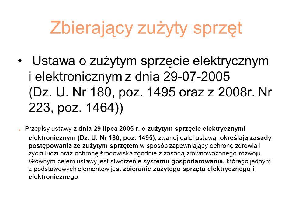 Zbierający zużyty sprzęt Ustawa o zużytym sprzęcie elektrycznym i elektronicznym z dnia 29-07-2005 (Dz. U. Nr 180, poz. 1495 oraz z 2008r. Nr 223, poz