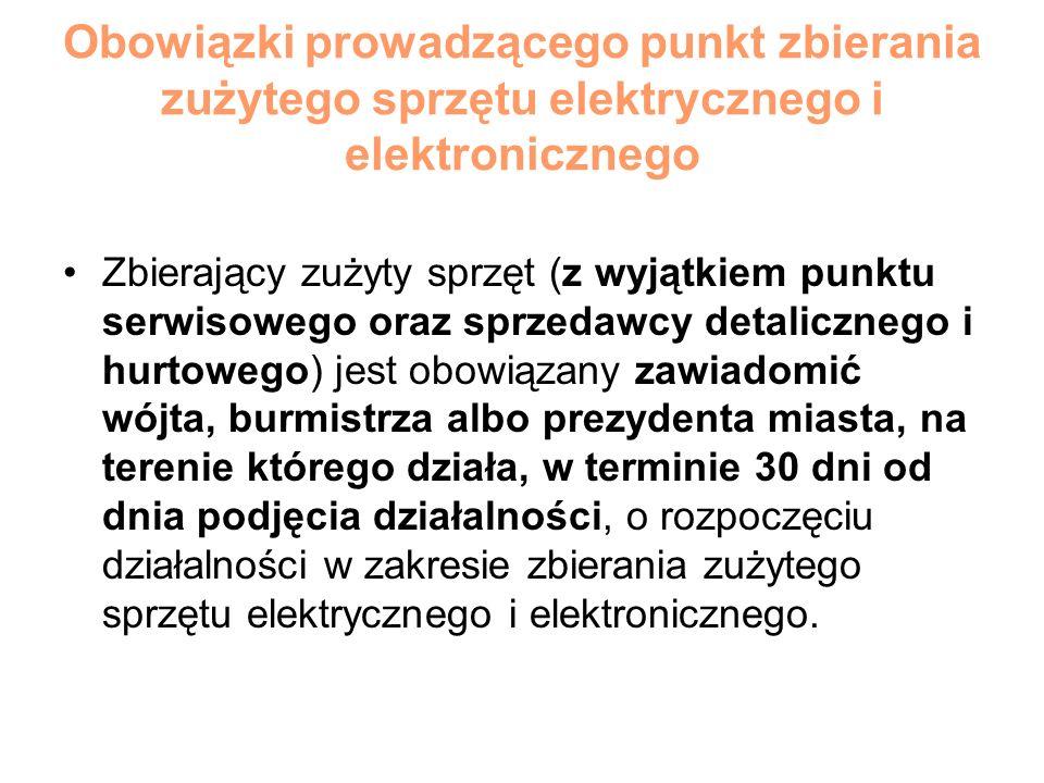 Obowiązki prowadzącego punkt zbierania zużytego sprzętu elektrycznego i elektronicznego Zbierający zużyty sprzęt (z wyjątkiem punktu serwisowego oraz