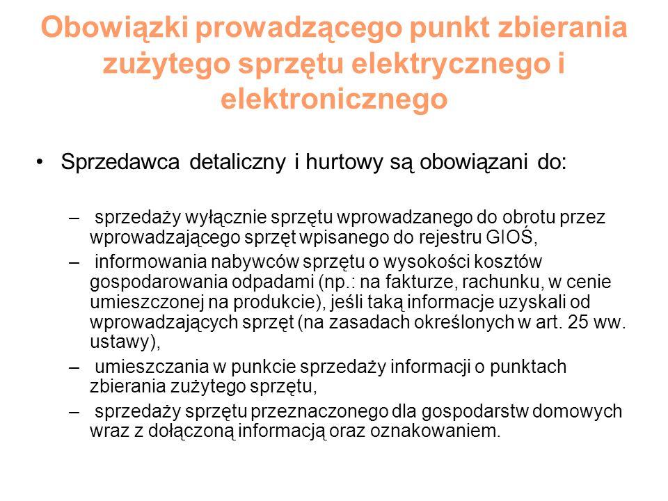Obowiązki prowadzącego punkt zbierania zużytego sprzętu elektrycznego i elektronicznego Sprzedawca detaliczny i hurtowy są obowiązani do: – sprzedaży