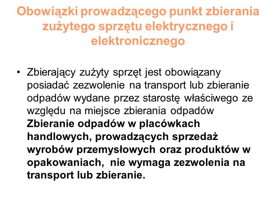 Obowiązki prowadzącego punkt zbierania zużytego sprzętu elektrycznego i elektronicznego Zbierający zużyty sprzęt jest obowiązany posiadać zezwolenie n